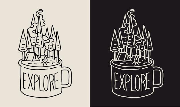 Explorando a natureza com uma xícara de café monoline illustration
