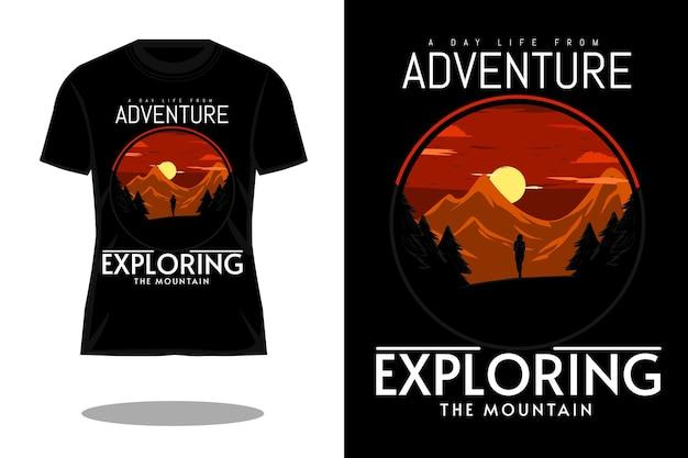 Explorando o desenho da camiseta da silhueta do desenho da mão da montanha