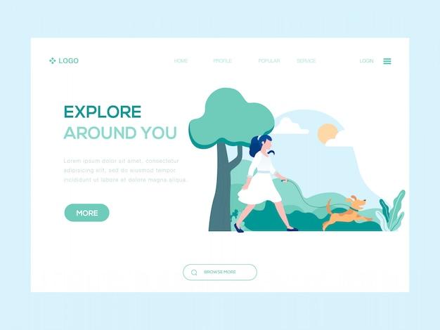 Explorar em torno de você ilustração web