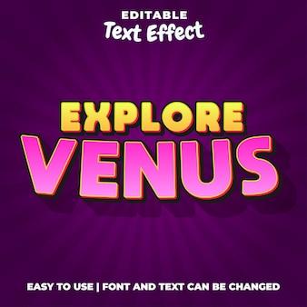 Explorar logotipo jogo vênus estilo efeito texto editável