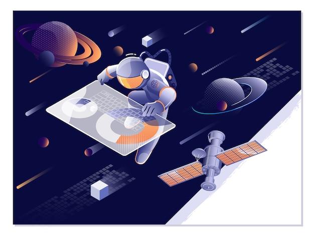 Explorar o espaço. astronauta, asteróide, cometa e objeto espacial