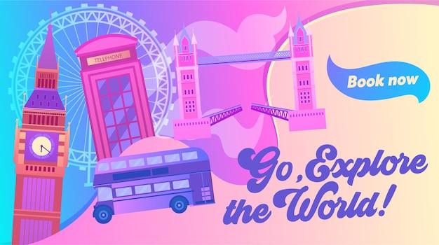 Explore as letras e ilustrações do mundo. visite a capital do reino unido