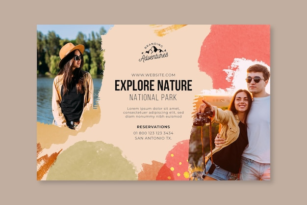 Explore o banner horizontal de caminhadas na natureza
