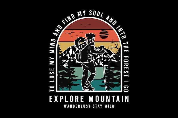 .explore o desejo de viajar pelas montanhas e permaneça selvagem, projete silte estilo retro