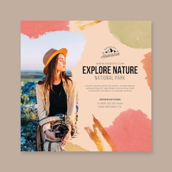 Explore o panfleto quadrado de caminhada vertical da natureza