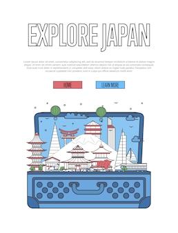 Explore o pôster do japão com mala aberta
