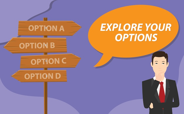 Explore suas opções com o pensamento de homem de negócios