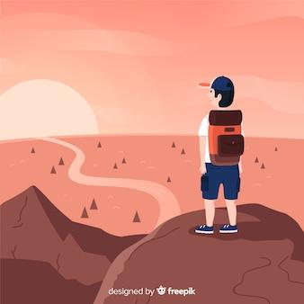 Explorer com fundo de mochila