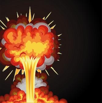 Explosão com nuvens de fogo de cor laranja em um fundo preto.