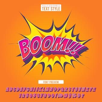 Explosão criativa fonte em quadrinhos efeito 3d estilo cartoon pop art letras alfabeto texto para ilustração e banner