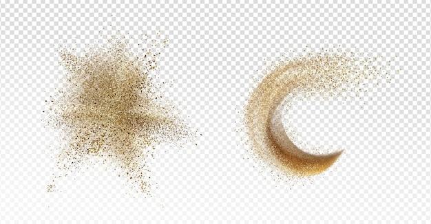 Explosão de areia, respingo de areia, mancha de grãos dispersos ou derrame e onda isolados em transparente