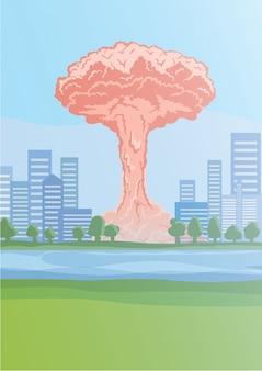 Explosão de bomba nuclear na cidade, nuvens em forma de cogumelo. ilustração.