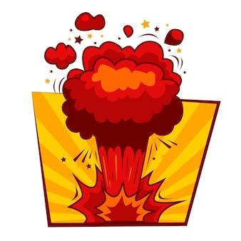 Explosão de bomba vetorial de desenho animado com fumaça