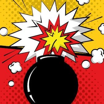 Explosão de boom de bomba de arte pop em quadrinhos