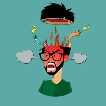 Explosão de cérebro de homem bravo