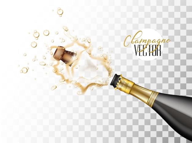 Explosão de champanhe realista de vetor garrafa de vidro preto estourando sua rolha espirrando