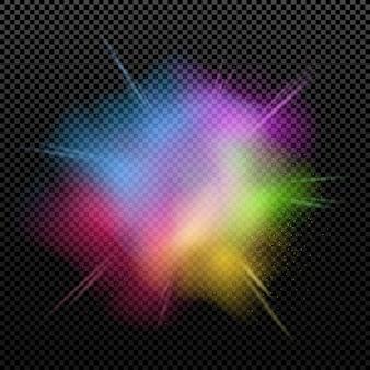 Explosão de cores é isolada em um fundo transparente.