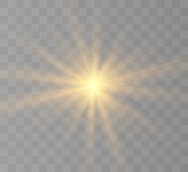 Explosão de explosão de luz amarela brilhante com transparente.