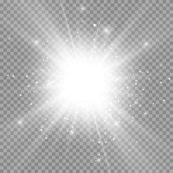 Explosão de explosão de luz branca brilhante transparente. Vetor Premium