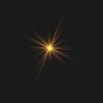 Explosão de explosão de luz brilhante transparente. estrela brilhante. sinal luminoso.