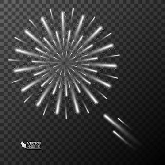 Explosão de fogos de artifício abstratos em fundo transparente
