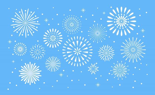 Explosão de fogos de artifício. celebração fuego fogo ou fogo de artifício feriado
