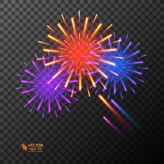 Explosão de fogos de artifício coloridos abstratos em fundo transparente