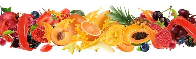 Explosão de frutas e bagas. respingo de suco. doces frutas tropicais