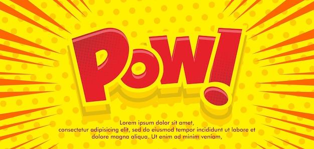 Explosão de fundo em quadrinhos na moda com texto pow