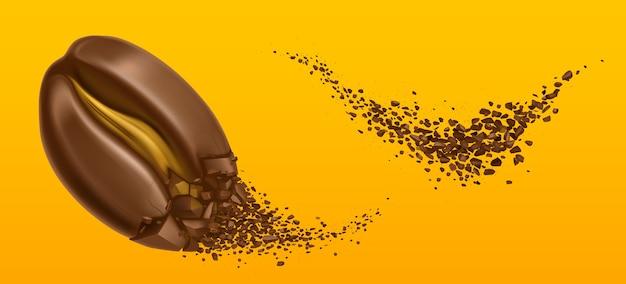 Explosão de grãos de café e grãos de arábica moídos.