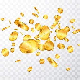 Explosão de moedas de ouro em dólar isolada