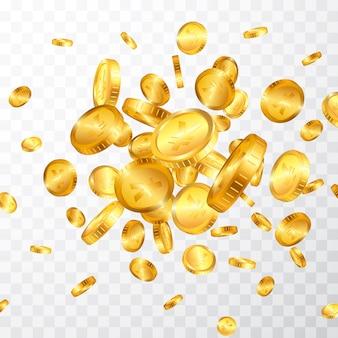 Explosão de moedas de ouro ienes isolada