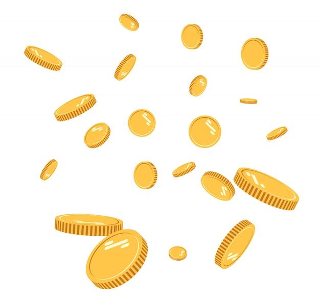 Explosão de moedas de ouro plana. moedas de ouro padrão com o efeito flutuando no ar em um desenho animado planejamento financeiro bem sucedido, pequenas empresas lucrativas. moeda digital
