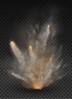 Explosão de névoa e fumaça isolada em fundo transparente