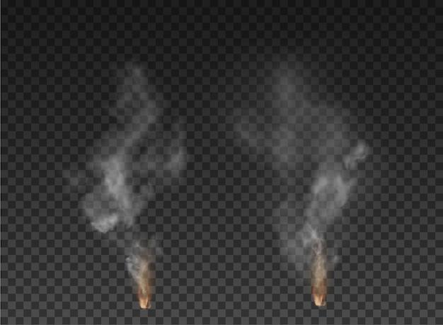 Explosão de nevoeiro e fumaça isolada em fundo transparente.