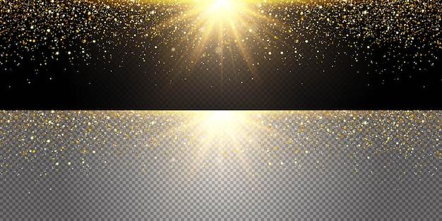 Explosão de ouro voando glitter em direções diferentes, pó de ouro.