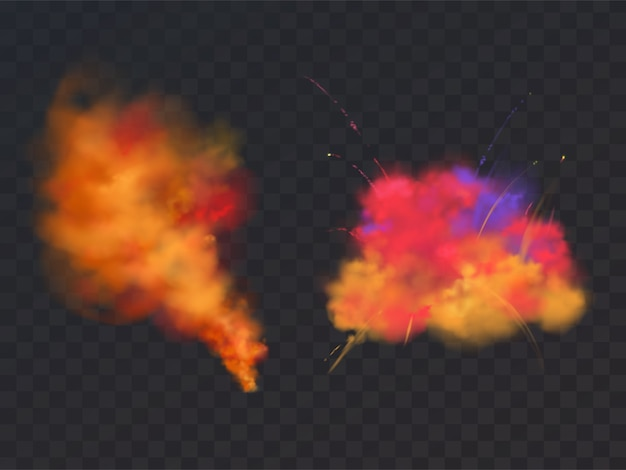 Explosão de pó de pintura realista 3d em fundo transparente. símbolo do festival de holi