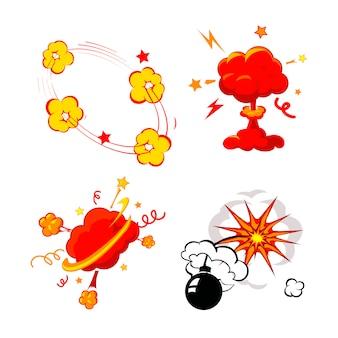 Explosão de quadrinhos, bombas e conjunto de explosão, bomba de fogo dos desenhos animados, estrondo e explodindo