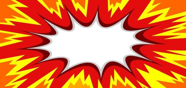 Explosão de quadrinhos em branco sobre fundo vermelho