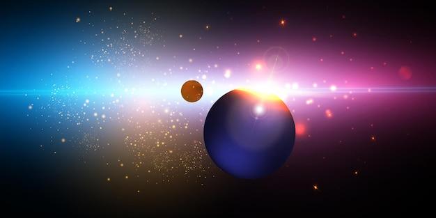 Explosão de uma estrela no espaço com brilho e raios brilhantes.