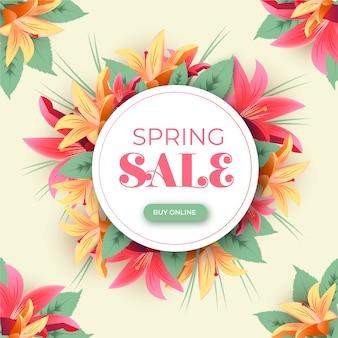 Explosão de venda de primavera realista de lírios