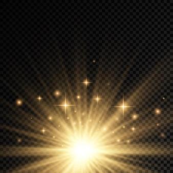 Explosão do sol amarelo brilho luzes raios de sol brilham efeito especial magia brilhos estrela dourada