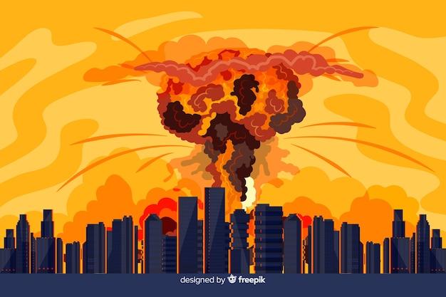 Explosão nuclear desenhada de mão em uma cidade