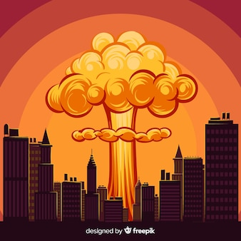 Explosão nuclear dos desenhos animados em uma cidade