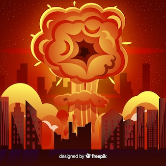 Explosão nuclear em um estilo de desenho animado da cidade