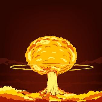 Explosão nuclear. ilustração dos desenhos animados.