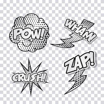 Explosão pop art comic cartoon icon set