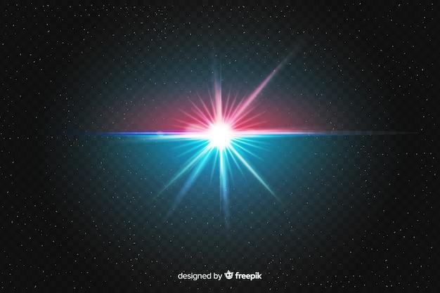Explosão realista de efeito de luz em duas cores