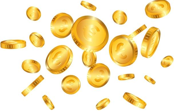 Explosão realista de moedas de ouro euro isolada