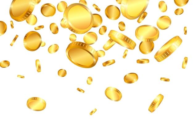 Explosão realista de moedas de ouro isolada